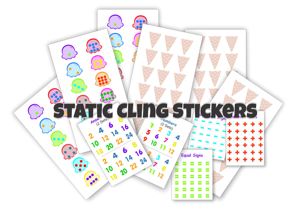 Ice Cream Math Doubles - Choose Wall or Static Cling Stickers