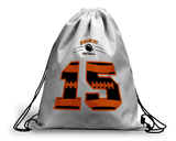 Personalized Football Drawstring Backpack  - Select Bag Color - 2-sides - Monogram or Number