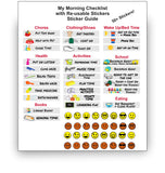Kid's Morning/Afternoon Checklist & Reusable Stickers - Fun Designs