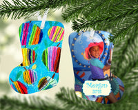 Kids Artwork Gift Ornament - Personalized Kids Artwork - Kids Drawing on Bag Tag - Stocking Ornament