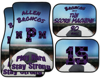 Personalized Soccer Car Floor Mat Set - Monogram or Name - Custom Colors - Custom Slogan - Stadium Design