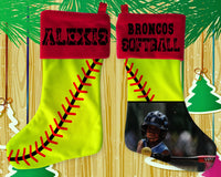 Festive Velvet Christmas Stocking with Red Cuff - Personalized Softball Christmas Stocking