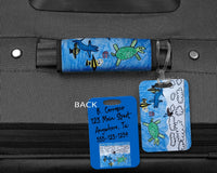 Kids Artwork Gift Bag Tag - Personalized Kids Artwork - Kids Drawing on Bag Tag - Custom Luggage Tag