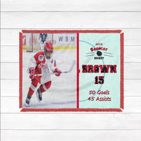 Personalized Ice Hockey Photo Blanket - Custom Hockey Blanket - Personalized Hockey Throw