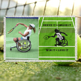 Personalized Wheelchair Tennis Photo Blanket - Ladies' Wheelchair Tennis Blanket - Custom Tennis Blanket - Wheelchair Tennis Throw