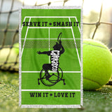 Personalized Wheelchair Tennis Blanket - Mens Wheelchair Tennis Blanket - Custom Tennis Blanket - Personalized Wheelchair Tennis Throw