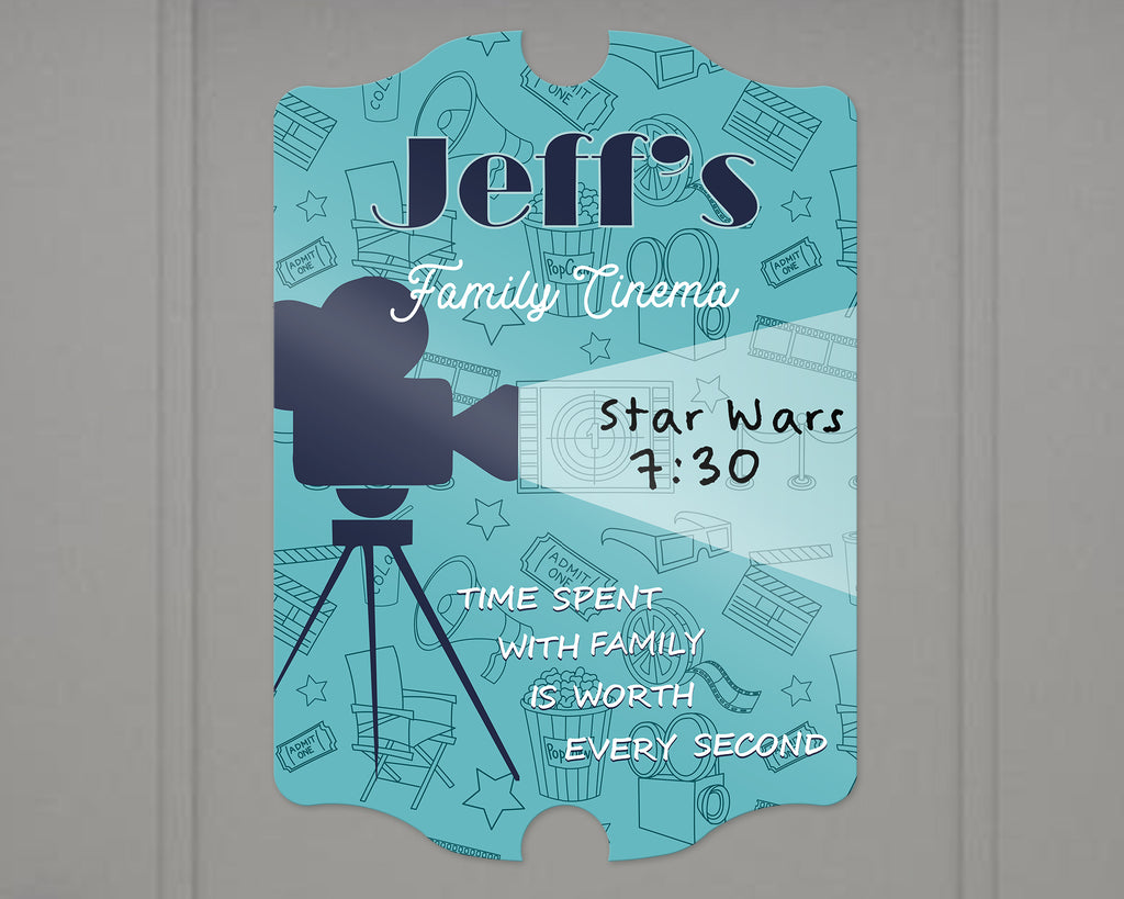 Media Room Dry Erase Sign - Personalized - Custom Colors