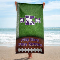 Custom Personalized Football Beach Towel - Custom Saying and Colors