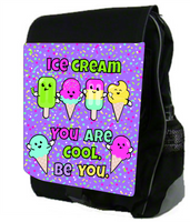 Large Personalized Backpack - Monogrammed - Custom Colors -Ice Cream Be You- Durable Canvas