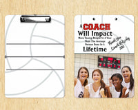 Volleyball Clipboard Coach's Gift - Great Volleyball Coach Thank You Gift - Add Coach Name