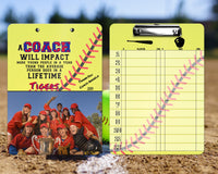 Softball Clipboard Coach Gift - Great Softball Coach Thank You Gift - Add Coach Name