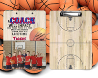 Basketball Clipboard for Coach - Coach Gift - Add Name, Photo, Select Colors, Dry Erase Board