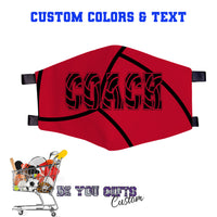 Custom Face Mask - Sport Designs - 100% Cotton, Add Text, Select Colors - Washable and Reusable