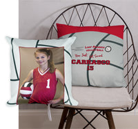 Custom Personalized Volleyball Throw Pillow - Photo Pillow - 2-sided, Square