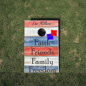 Faith, Friends, Family, Freedom- Cornhole Game