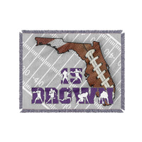 Custom Personalized State Football Blanket - Premium Fonts with Color Choices