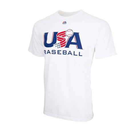 Majestic USA Baseball White Traditional Tee (Small)