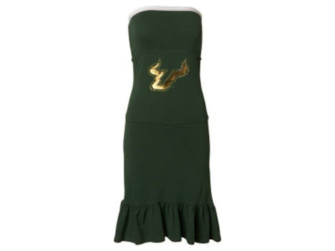 Chicka-d South Florida Bulls NCAA USF Women's Strapless Ruffle Dress