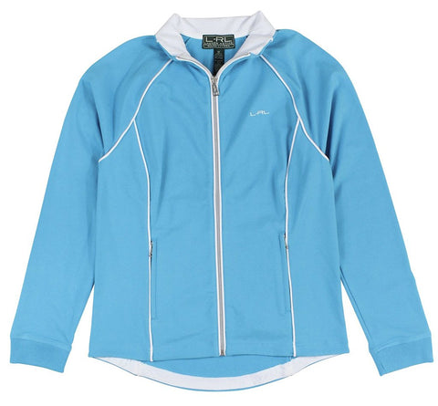 Lauren Ralph Lauren Women's Jersey Light Blue Track Jacket (Large)