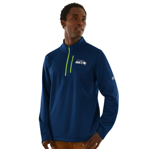 "Seattle Seahawks Men's Majestic NFL ""Across the Scoreboard"" 1/2 Zip Fleece Jacket"