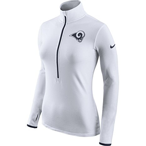 Los Angeles Rams Nike Women's White Pro Hyper Warm Half Zip Top (XL)