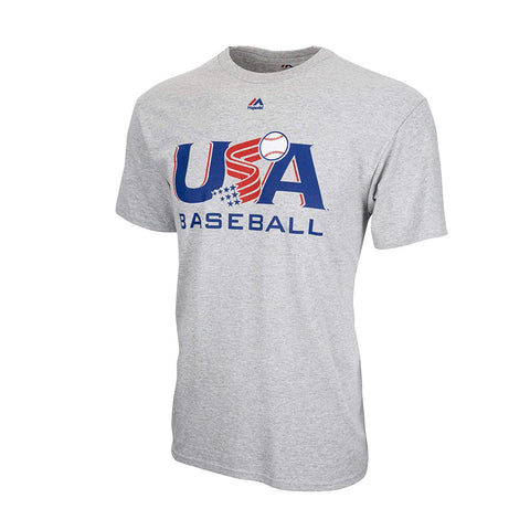 Majestic USA Baseball Grey Traditional Tee (Small)