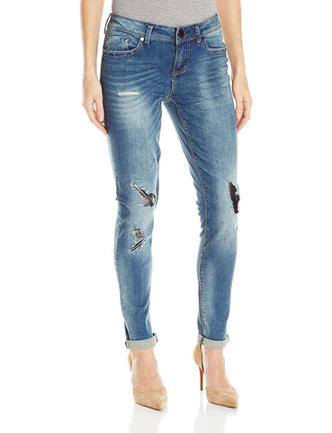 Seven7 Women's Roll Cuff Skinny Jean With Destuction and Vegan Leather Patches