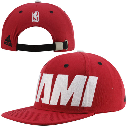 Miami Heat Oversized Wordmark Adidas Adjustable Strapback Hat