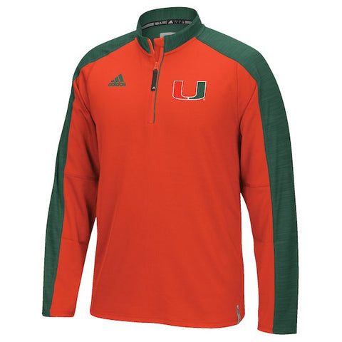 Miami Hurricanes Adidas Football Coaches Climalite Quarter-Zip Jacket (Small)