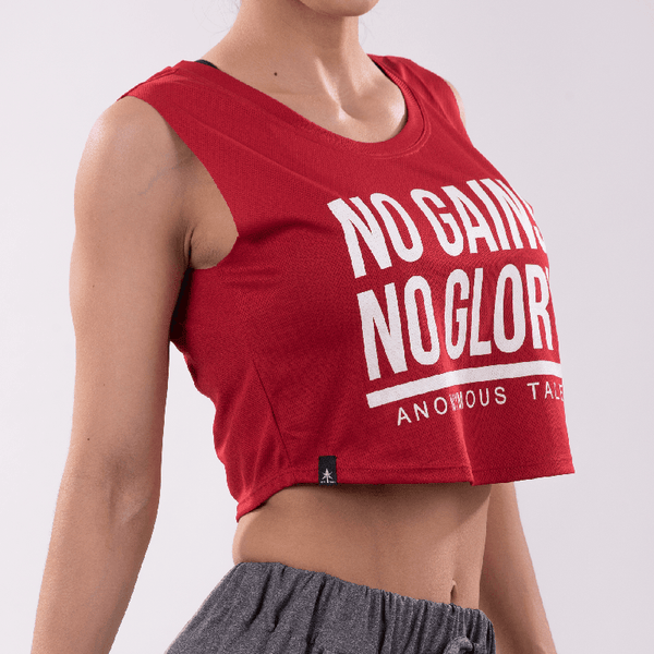 NO GAINS NO GLORY crop top