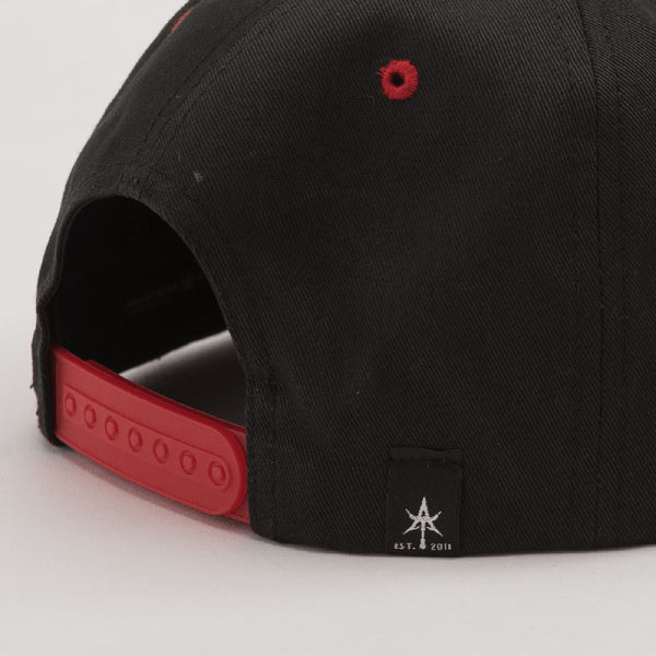 SOLID 5 Panel Snap back Black & Red