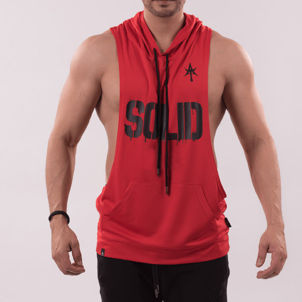 SOLID Wide Sleeveless Hoodie red
