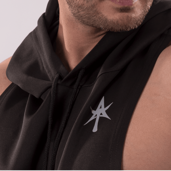 d0862491ec1498 SOLID Wide Sleeveless Hoodie black – Anonymous Talents