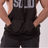SOLID Wide Sleeveless Hoodie black