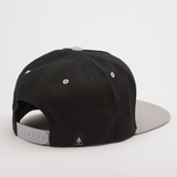 NEVER SATISFIED 5 Panel Snap back Black & Gray