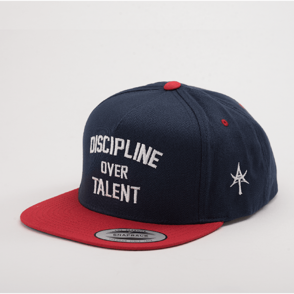 DISCIPLINE OVER TALENT 5 Panel Snap back Blue & Red
