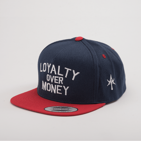 LOYALTY OVER MONEY 5 Panel Snap back Blue & Red
