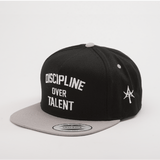 DISCIPLINE OVER TALENT 5 Panel Snap back Black & Gray