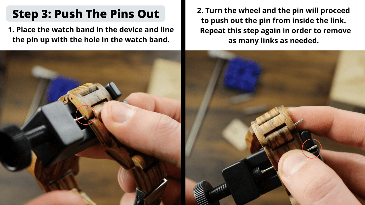 Removing Links from watch band with our push tool