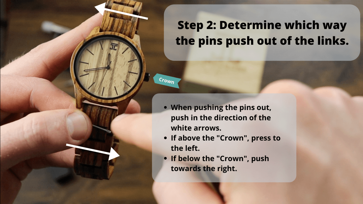 Diagram showing which way to push the pins out of the watch