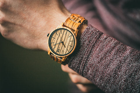 Zebra wooden watch by joycoast, after links have been removed and watch adjusted