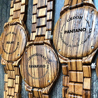 engraved wooden watches for wedding party - groom and groomsmen