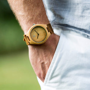 Bamboo with Genuine Leather Strap - Wooden Watches and Sunglasses - Joycoast