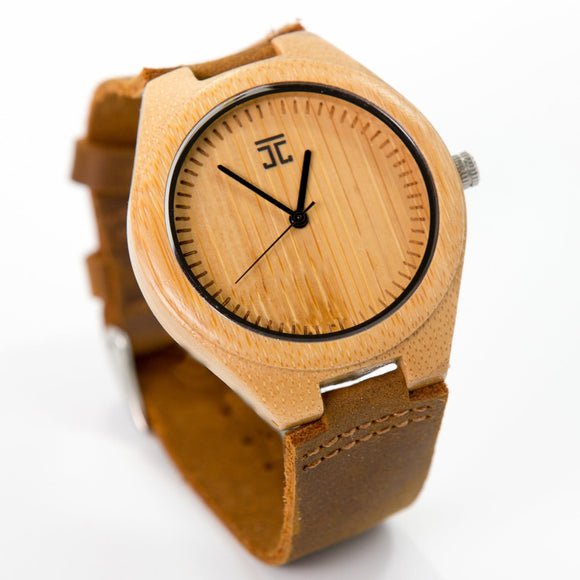Wooden Watch | Bamboo with Genuine Leather Strap - joycoast