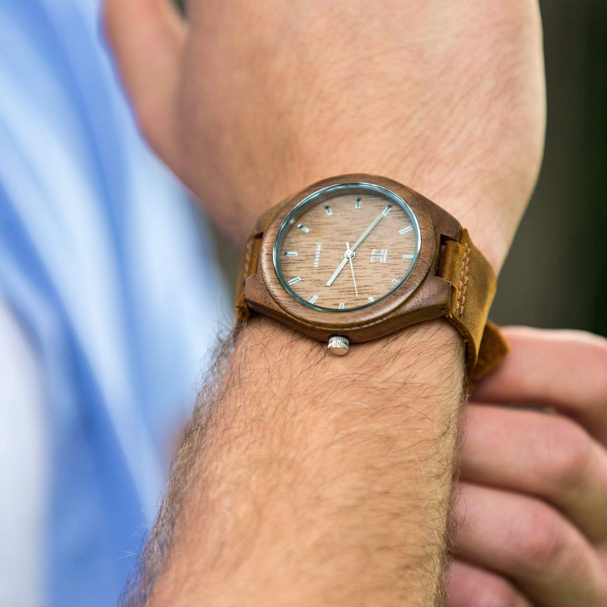 Walnut with Genuine Leather Strap - Wooden Watches and Sunglasses - Joycoast