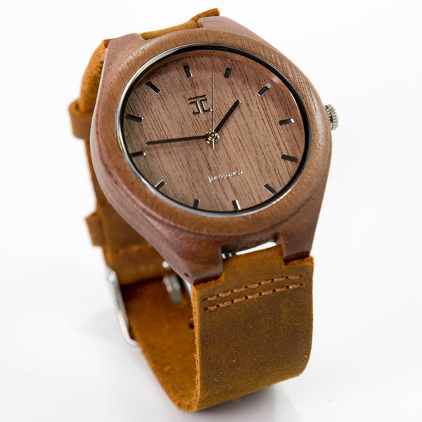 Wooden Watch | Walnut with Genuine Leather Strap - joycoast