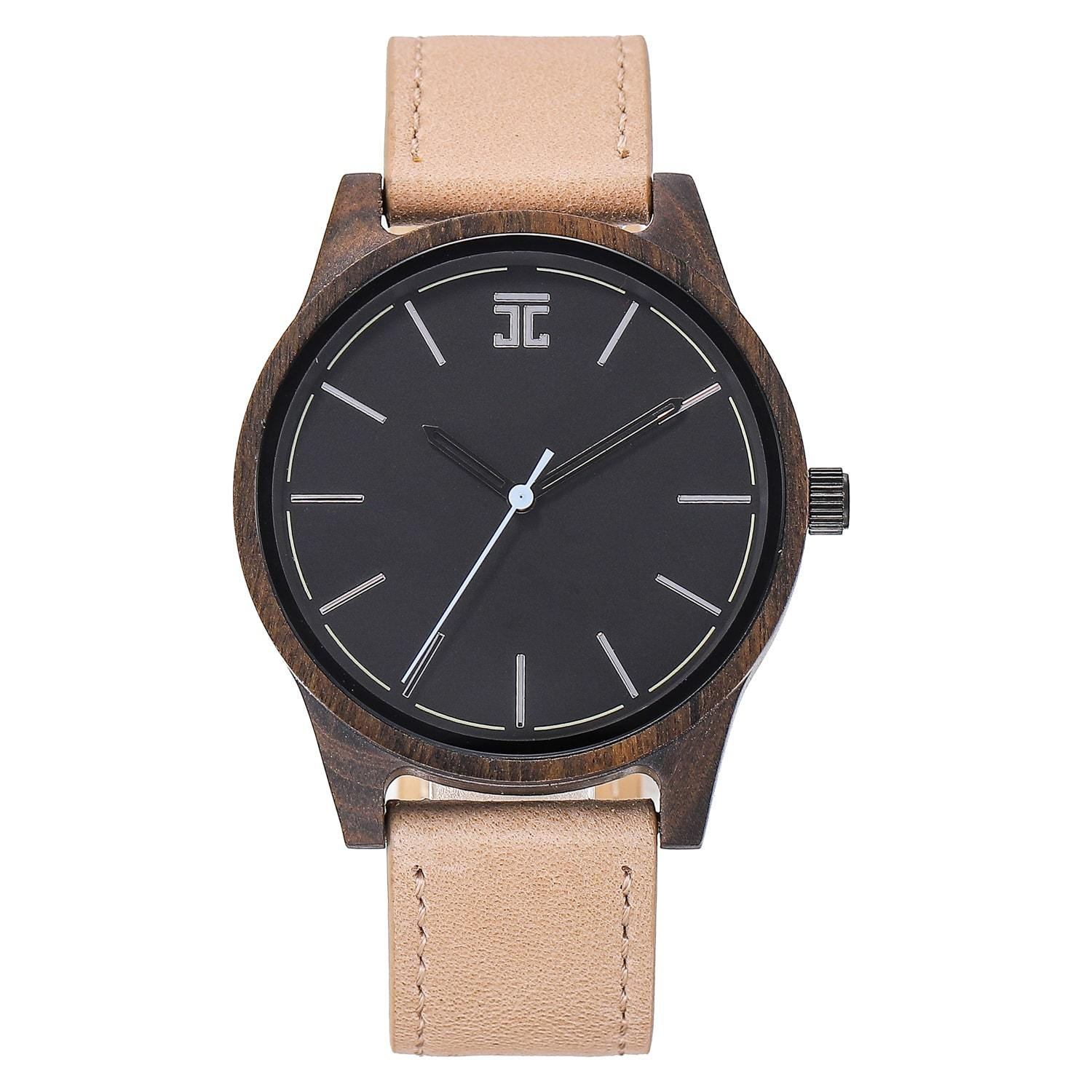 Dark Sandalwood // Blue Second (Leather Strap)