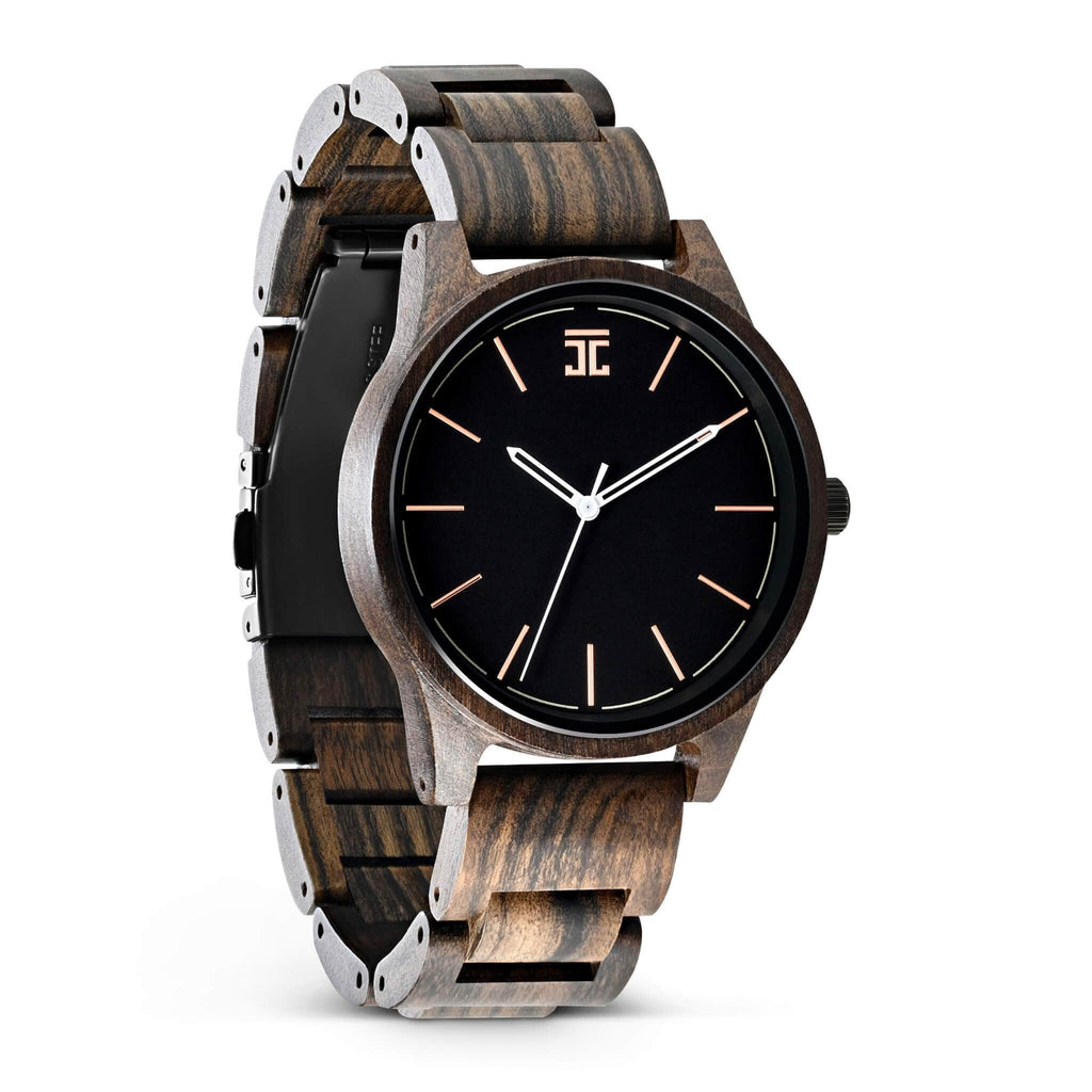 Wooden watch for men, hand made from Dark Sandalwood by Joycoast, a Chicago Company.