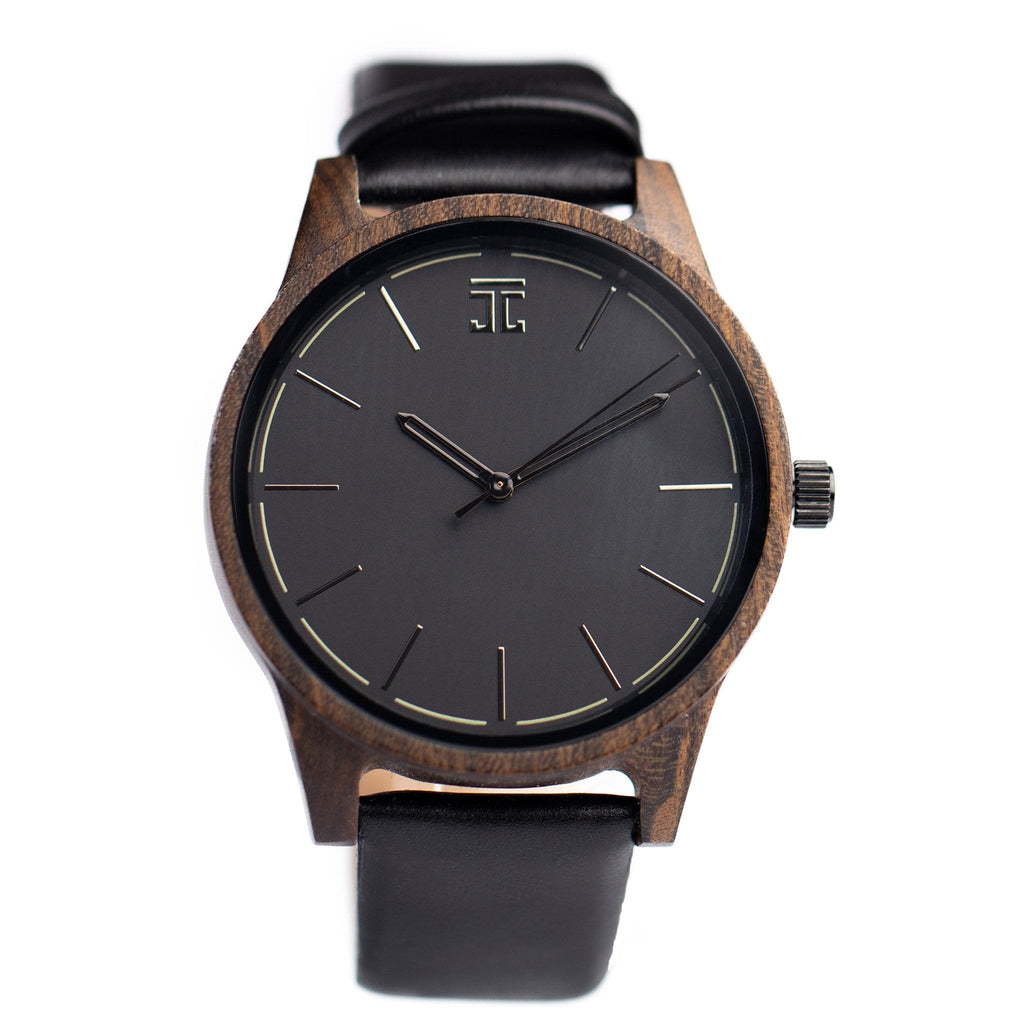 Dark Sandalwood with Leather Strap - Wooden Watches and Sunglasses - Joycoast