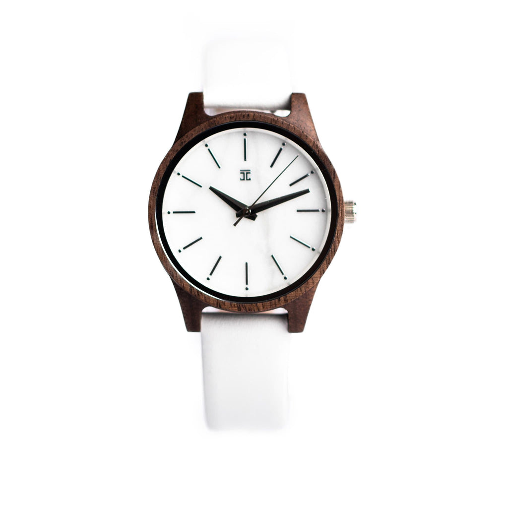 Walnut with Marble Face & Genuine Leather Strap in White - Wooden Watches and Sunglasses - Joycoast
